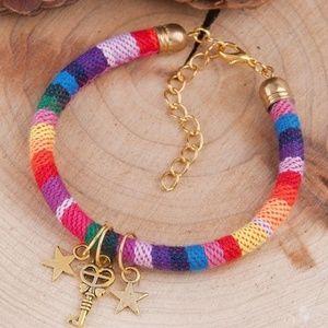 Jewelry - Gold Star Boho Rainbow Braided Friendship Bracelet